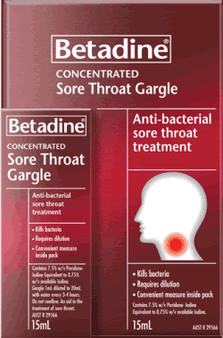 Betadine Concentrated Sore Throat Gargle is an antibacterial sore throat treatment that kills bacteria.