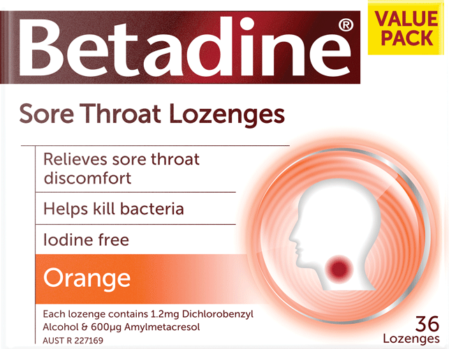 Betadine orange lozenges