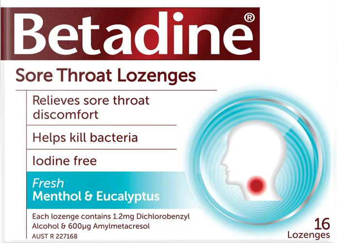Betadine menthol and eucalyptus lozenges
