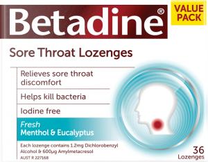 Betadine menthol and eucalyptus lozenges