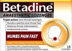 Betadine Anaesthetic Honey & Lemon Lozenges