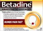 Betadine Anaesthetic Honey & Lemon Lozenges help numb sore throats.