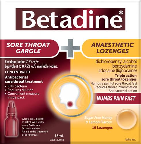 Betadine Sore Throat Gargle + Anaesthetic Lozenges Kit